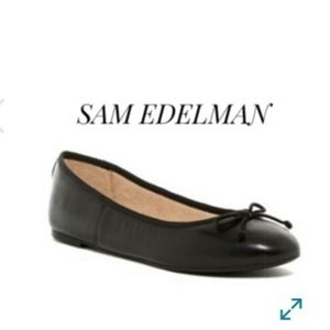 NEW SAM EDELMAN BLACK LEATHER CARRIE FLATS